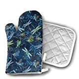 Xixioou Dance of The Dragonfly Insects Oven Mitts Kitchen Gloves and Potholder Kitchen Set,Heat Resistant,Oven Gloves and Pot Holders 2pcs Set for BBQ Cooking Baking Grilling