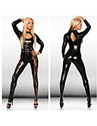 Leather Jumpsuit Women Skinny Lace Mesh Patchwork Bodysuit Latex Catsuit Fetish Wear Sexy Pole Dance Clothing
