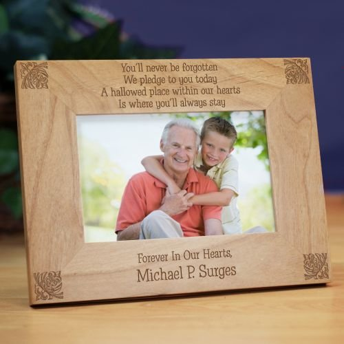 You'll Never Be Forgotten Memorial Wood Picture Frame, Holds a 3.5