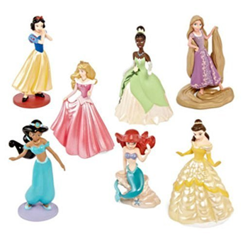 Disney Princess Jasmine, Rapunzel, Belle, Snow White, Tiana, Ariel, and Aurora Figurine Cake Toppers Figure Play Set -