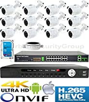 USG 4MP 12 Camera Security System H.265 Ultra 4K PoE IP CCTV Kit : 12x 4MP 2.8mm Bullet Camera + 1x 36 Channel 8MP NVR + 1x 18 Port PoE Network Switch + 1x 4TB HDD : Free Phone App : Business Grade