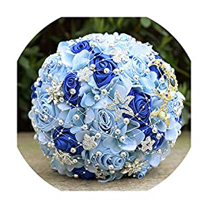 Wedding Bouquet Royal Blue Artificial Roses Peonies Silk Flowers Wedding Bridal Bouquets Accessories,Bouquet Type 1 58