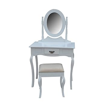 Homegear Milan Dressing Table, Mirror & Stool Set/Vanity Makeup Desk ...