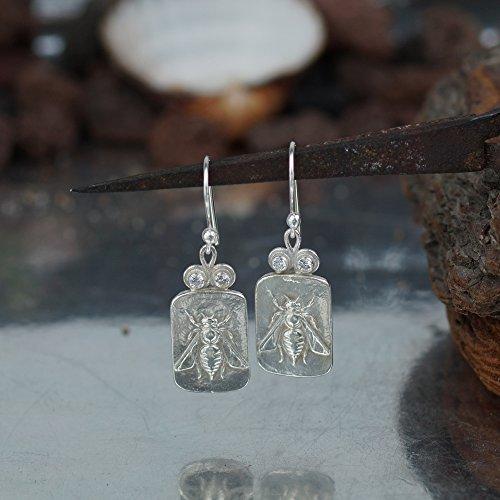 925 k Sterling Silver Bee Coin Earrings Roman Art Turkish Fine Jewelry By Omer