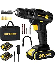 Inspiritech Cordless Drill/Driver with 2 Lithium Ion Batteries and Charger,Variable Speed 3/8Inch Keyless Chuck 26 Position Clutch, Front LED Light