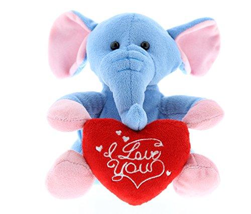 Dollibu Blue Elephant I Love You Valentines Stuffed Animal -