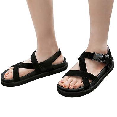 ee998e812 XLnuln Summer Fashion Shoes Women Flat Bottom Leisure Beach Sports Sandals  Braided Sandal Open Toe Ankle