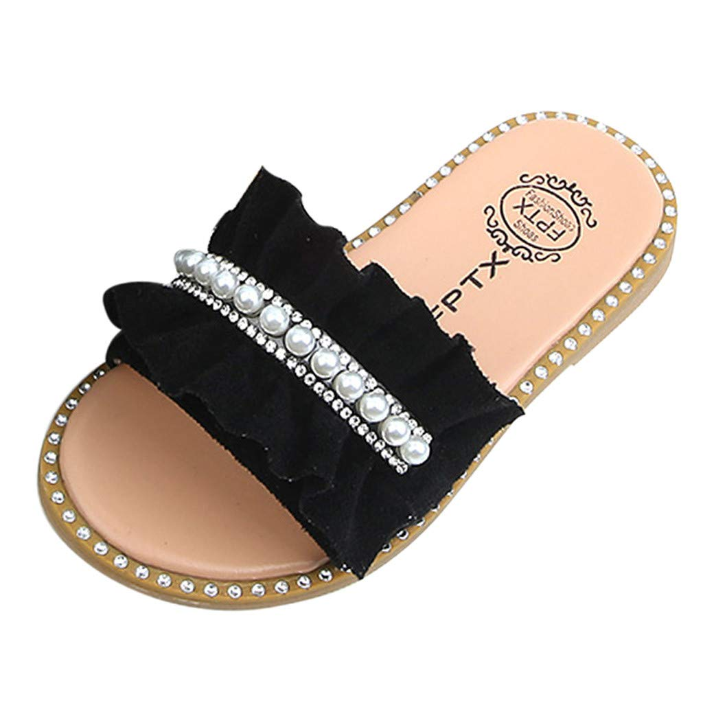 RAINED-Baby Girls Princess Shoes Pearls Crystal Ruffles Sandals Slippers Sleeping Beauty Bling Ball Shoes