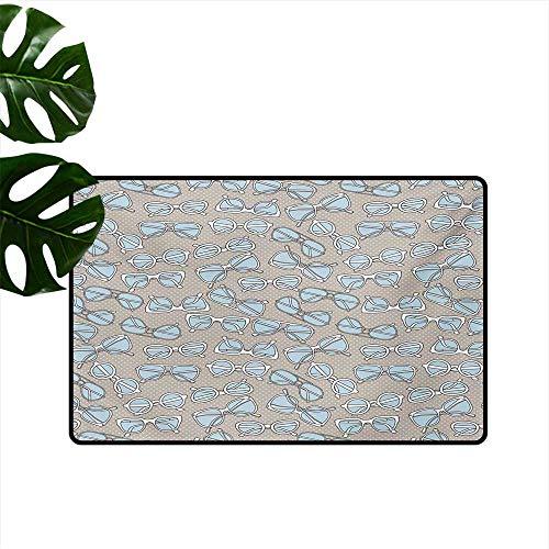 (Non-Slip Floor mat,Vintage Hipster Glasses Pattern on Polka Dots Backdrop Eyesight Optic Design 32