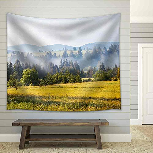 Fantastic Day with Fresh Blooming Hills in Warm Sunlight Fabric Wall