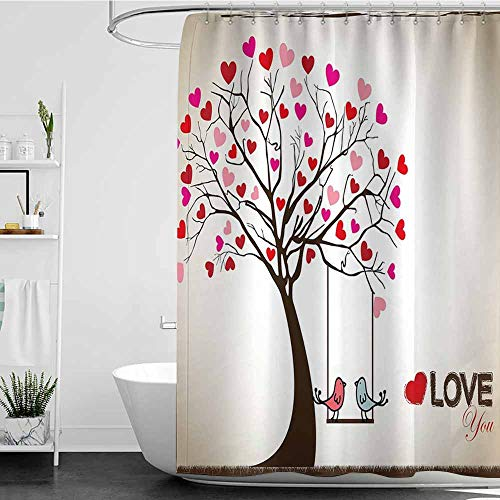 Tim1Beve Bathtub Splash Guard,Love Heart Leaves on Tree with Birds in Love on a Swing Cute Cartoon for Valentines Day,for Master, Kid