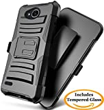 LG X Power 2 Case, LG Fiesta Case, LG X Charge Case, JATEM [Belt Clip] Rugged Hybrid Dual Layer Kickstand Holster Combo + Tempered Glass Screen Protector (Black/Black)