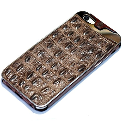 Fine Crocodile Alligator Lettered Pattern Leather Metal Frame Protective Case Handmade for Apple iPhone 8 Plus 7 Plus iPhone 6 6S Plus Light Brown Crocodile Pattern Fine Leather