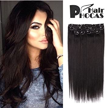 Amazon hairphocas 18 inch 1b clip in remy human hair hairphocas 18 inch 1b clip in remy human hair extensions natural black color short real pmusecretfo Gallery