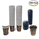 8 oz coffee cup paper - 100 Pack Quality Disposable Paper Hot Coffee Cups with Lids, Perfect For Hot Drinks Tea & Coffee , Coffee Shops And Bars (8 oz, Coffee Bean Design)