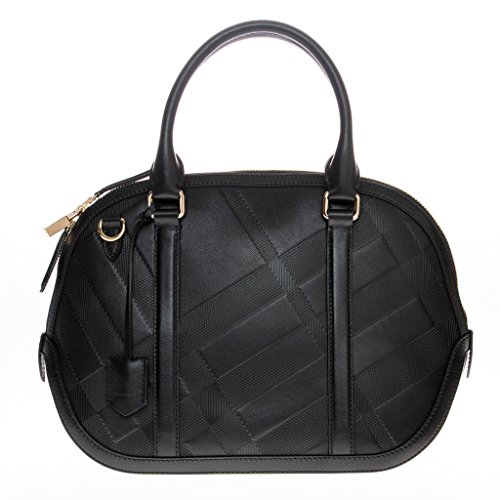 Burberry Women's Small Soft Check Orchard Bowling Bag Black