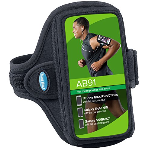 Armband for iPhone 6 6s 7 8 Plus, Samsung Galaxy Note 8 and S8 Plus - for Running, Jogging & Working Out - Water Resistant - for Women & Men [Black] See Fit Details by Tune Belt (Image #6)