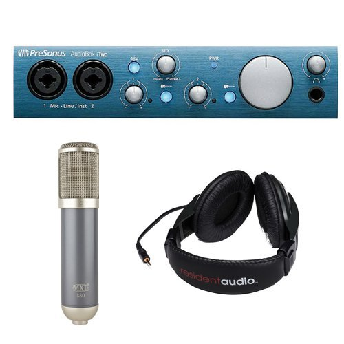 PreSonus AudioBox iTwo USB 2.0 & iPad Recording Interface with MXL 880 Large-Diaphragm Vocal Condenser Microphone and R100 Stereo Headphones