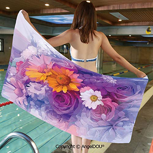 AngelDOU Lightweight Large Comfortable Microfibre Towel Bouquet of Rose Daisy and Gerbera Flowers Impressionist Style Sports Travel Accessories Bath Towel.W27.5xL55(inch)