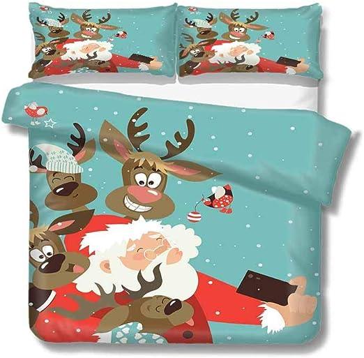 Christmas Bedding Set Xmas Gifts Tree Santa Claus Elk Comforter Duvet Cover Set