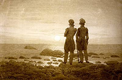 Two men at Moonrise by Caspar David Friedrich. 100% Hand Painted. Oil On Canvas. Reproduction. (Unframed and Unstretched).