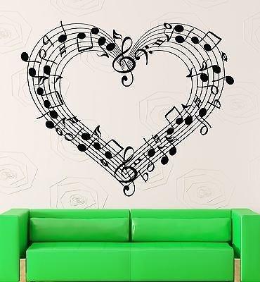 Wall Decal Sheet Music Love Coolest Room Decor Vinyl Stickers Art Mural VS2583