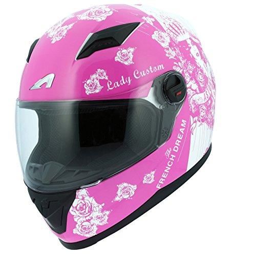 Amazon.es: Astone Helmets gt2g-ladyc-pwm casco Moto Integral GT Lady Custom, Rosa/Blanco, talla M