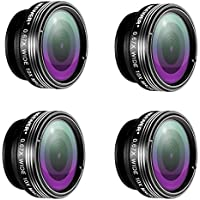 Neewer® 4 Pieces 3-in-1 Clip-on Lens Kit for Android Tablet,ipad,iphone,Samsung Galaxy and other Smartphones,Includes:(4)180 Degree Fisheye Lens+(4)2 in 1 Macro Lens&Wide Angle Lens+(4)Lens Holder