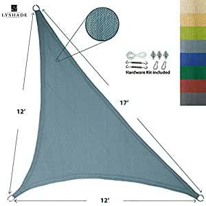 LyShade 12' x 12' x 17' Right Triangle Sun Shade Sail Canopy with Stainless Steel Hardware Kit (Cadet Blue) - UV Block for Patio and Outdoor