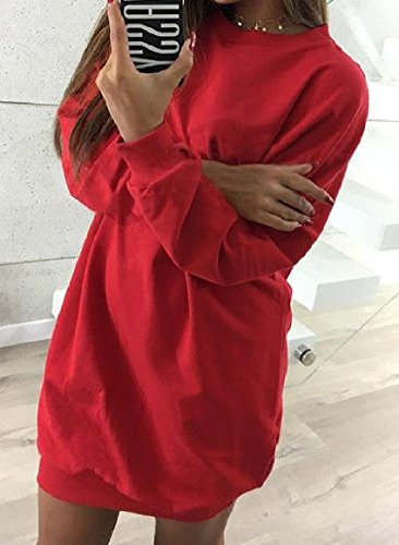 Colored Dress Casual Soft Chic Neck Pullover Mini Women's Red Solid Crew Sweatshirts Howme 1zqR0WXW