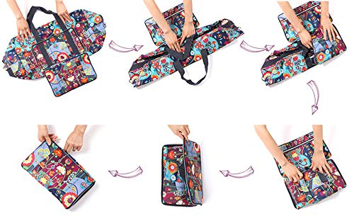 Womens Foldable Travel Duffel Bag 50L Large Cute Floral Travel Bag Weekender Overnight Carry On Bag Checked Luggage Tote Bag For Girls Kids (leaves)