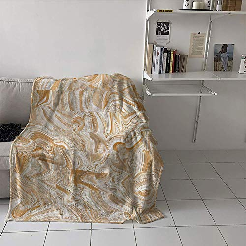 Khaki home Children's Blanket Stroller Plush Throw Blanket (50 by 60 Inch,Apartment Decor,Decorative Vintage Marble Stone Patterns with Irregular Dimensions Image,Tan Cream