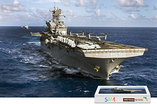 Sim,Perfect Choice for the Puzzle Lover Wooden Puzzle in Box Gift-Wrap - Amphibious Assault Ship Navy,29.5 X 19.6 inch - 1000 Piece Jigsaw Puzzle