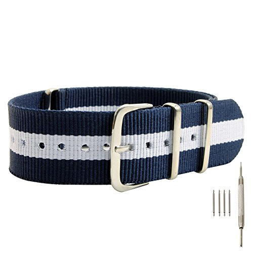22mm Blue-White-Blue Nylon Replacement Watch Strap with Free Installation Kit Including 4 Spring Bars and Removal Tool - [BWC]