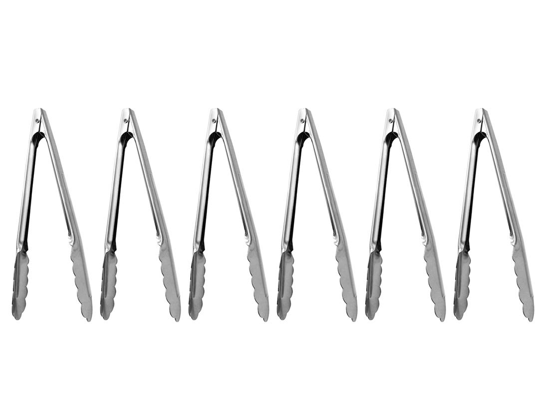 (Set of 6) Stainless Steel Utility Tongs 7-Inch, Heavy Duty Small Kitchen Tongs with Scalloped Gripping Edge, Metal Tongs by Tezzorio, Professional Serving Utensils