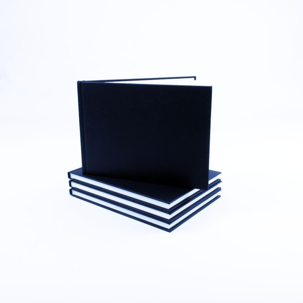 SEAWHITE Black Cloth Cover Sketchbook 140gsm Landscape A5 by Seawhite Seawhite of Brighton SBBA5L