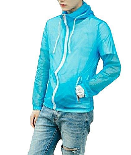 AGAING Windbreakers Protect Fitted Hooded Jacket Slim Outdoor Blue UV Men rBwqrFT