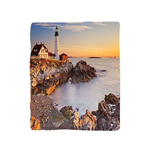 VROSELV Custom Blanket United States Cape Elizabeth Maine River Portland Lighthouse Sunrise USA Coast Scenery Soft Fleece Throw Blanket Light Blue Tan