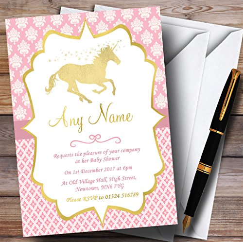 Pink & Gold Magical Unicorn Invitations Baby Shower Invitations
