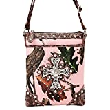 Pink Camo Brown Trim with Cross Designer Hipster Crossbody Concealed to Carry Messenger Swingpack Western Bag TravelNut Grandma Aunt Cousin Mom Sister