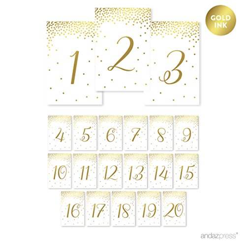 Andaz Press Metallic Gold Confetti Polka Dots Party Collection, Table Numbers 1-20, 4x6-inch, 1-Set (Tables 1 20)
