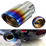 AUDEW Exhaust Muffler Tip Pipe Stainless Steel Chrome Universal 2.5 Inch Grilled Blue