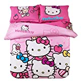 Warm Embrace Kids Bedding Teen Comforter Set Girls Children Bed in a Bag Hello Kitty Pink,Duvet Cover and Pillowcase and Flat Sheet and Duvet (White),Twin Size,4 Piece