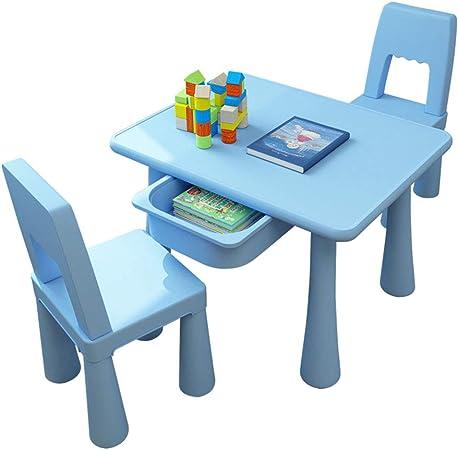 juego de mesa y silla para niños, combinación de Mesa y Silla de Juego de jardín de Infantes, Mesa/Silla de educación temprana para bebés (Azul/Rosa): Amazon.es: Hogar