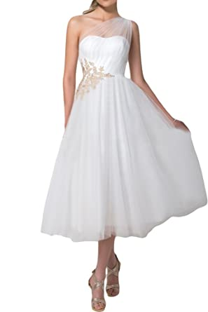Charm Bridal White Tulle One Shoulder Junior Girl Summer Prom Dresses Tea Length -14-