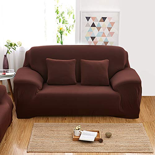 Eazyhurry 1 PC Slip Resistant Strapless Stretch Chair Loveseat Sofa Protector Shield European Style Solid Color Polyester Spandex Furniture Cover Coffee ()