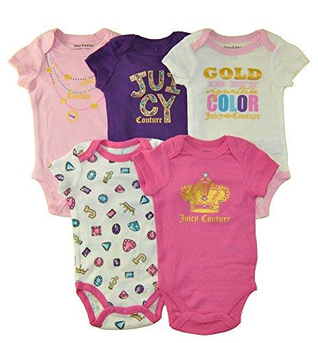 Juicy Couture Girls' 5 Pack Bodysuits, Pink/Purple/Diamond, 6-9 (7 Diamonds Kids Shirt)