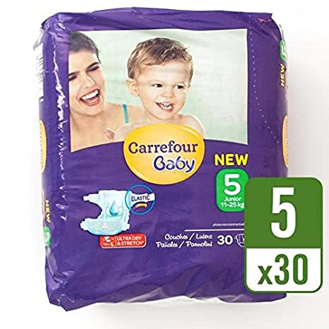 Carrefour bebé Ultra Dry Talla 5 Pañales Carry Pack 30 por paquete: Amazon.es: Bebé