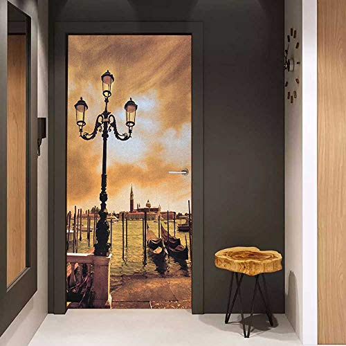 Onefzc Wood Door Sticker Venice Venice Lagoon Gondolas Moored by Saint Mark Square on Grand Canals Dreamy Sky Easy-to-Clean, Durable W30 x H80 Pale Brown Black (Grand Slam Wood)