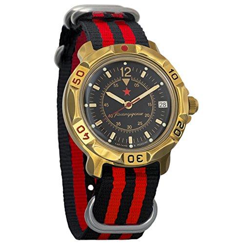 Vostok Komandirskie Black Dial Classic Army Mechanical Mens Military Commander Wrist Watch #819399 (black+red)